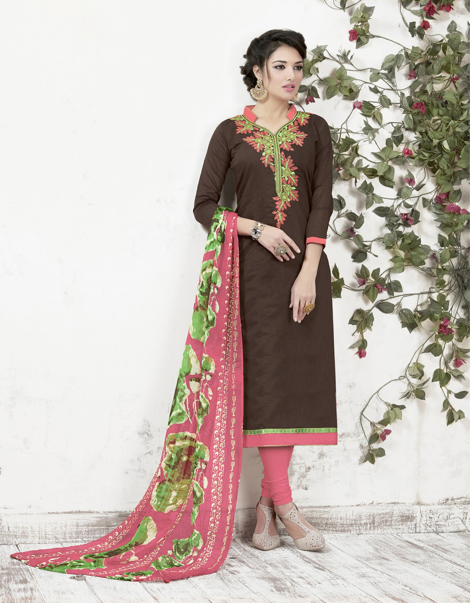 Multi Colored Chanderi and Cotton Salwar Suit - B