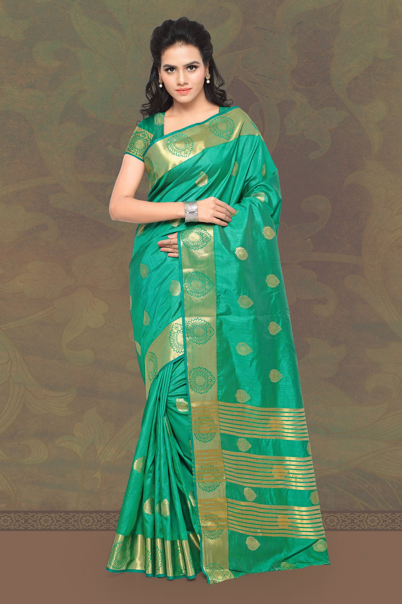 Beautiful Green Banarasi Silk Saree.