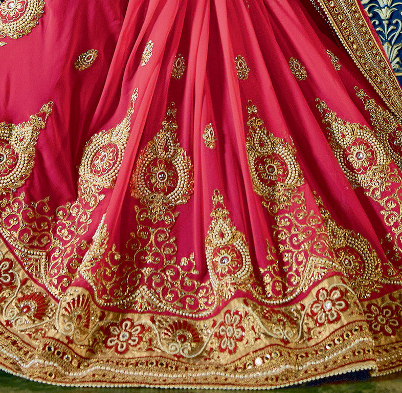 Pink Satin & Georgette Saree.