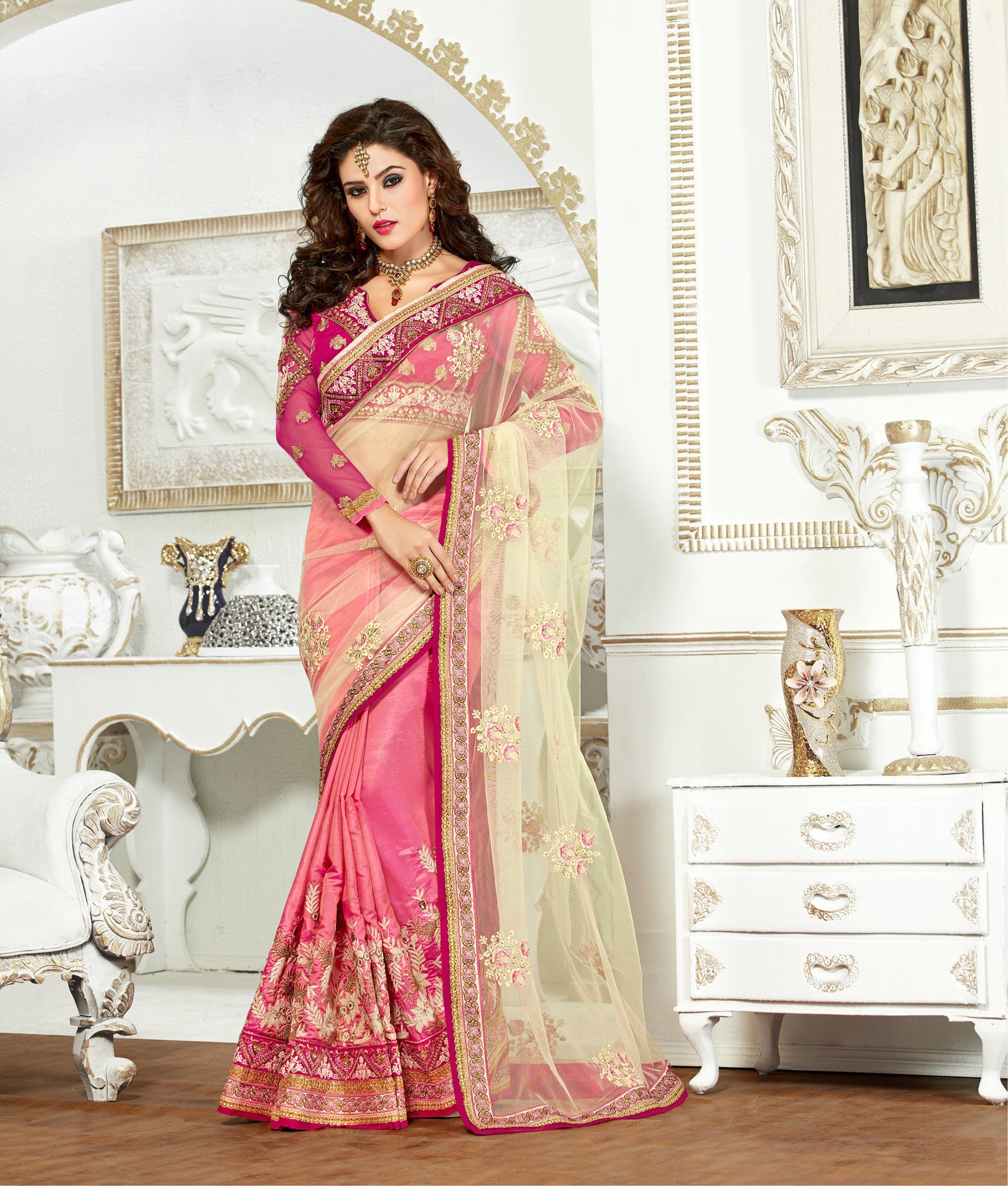 Pink and Beige Paper Silk and Net Saree.