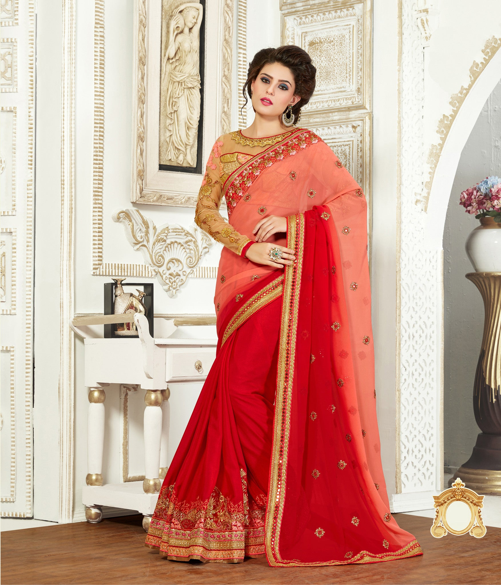 Peach and Red Pure Bemberg Saree.