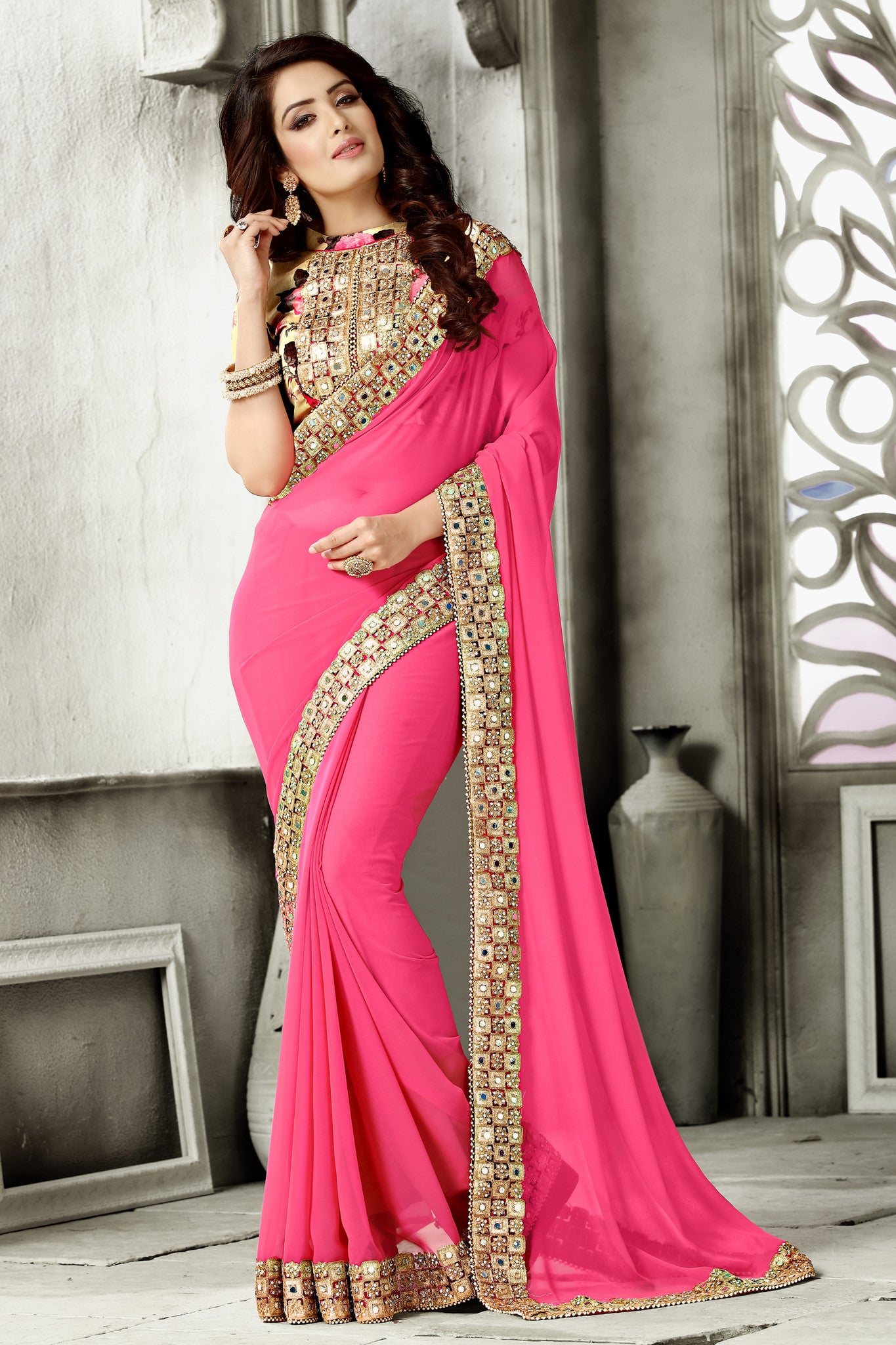 Georgette and Bhagalpuri Multi Colored Saree Collection.