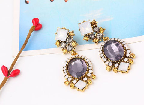 Amethyst Vintage Crystal Earrings