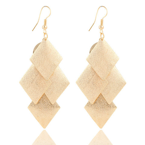 Gold Silver Long Rhombus Drop Earrings