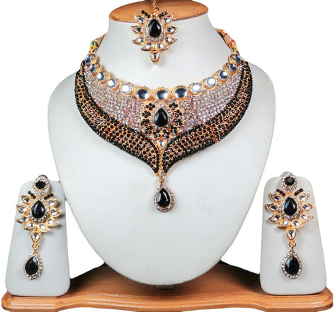 Bollywood Fashion Multi Colored Gold Jewelry Set