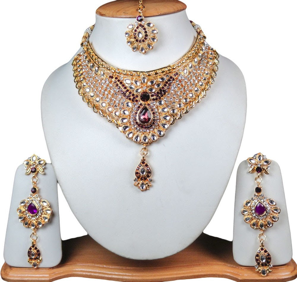 Indian Bridal Dress Gold Jewelry Set