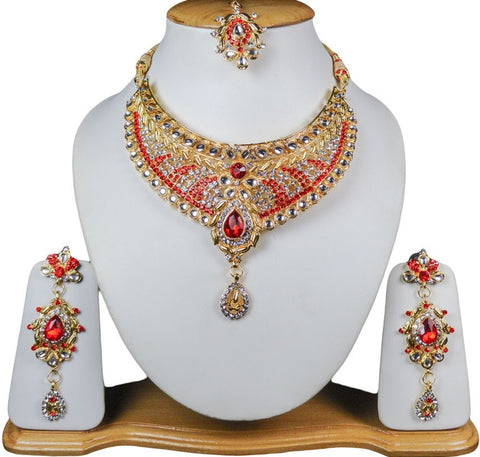 Multi Colored Dress Necklace Gold Jewelry Set