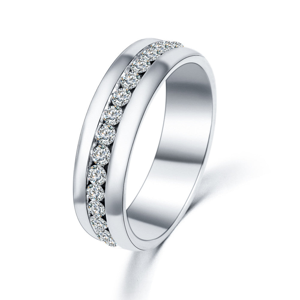 Crystal Centered Row Round Wedding Ring