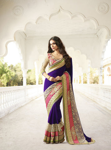 Signature Violet Slub Georgette Saree