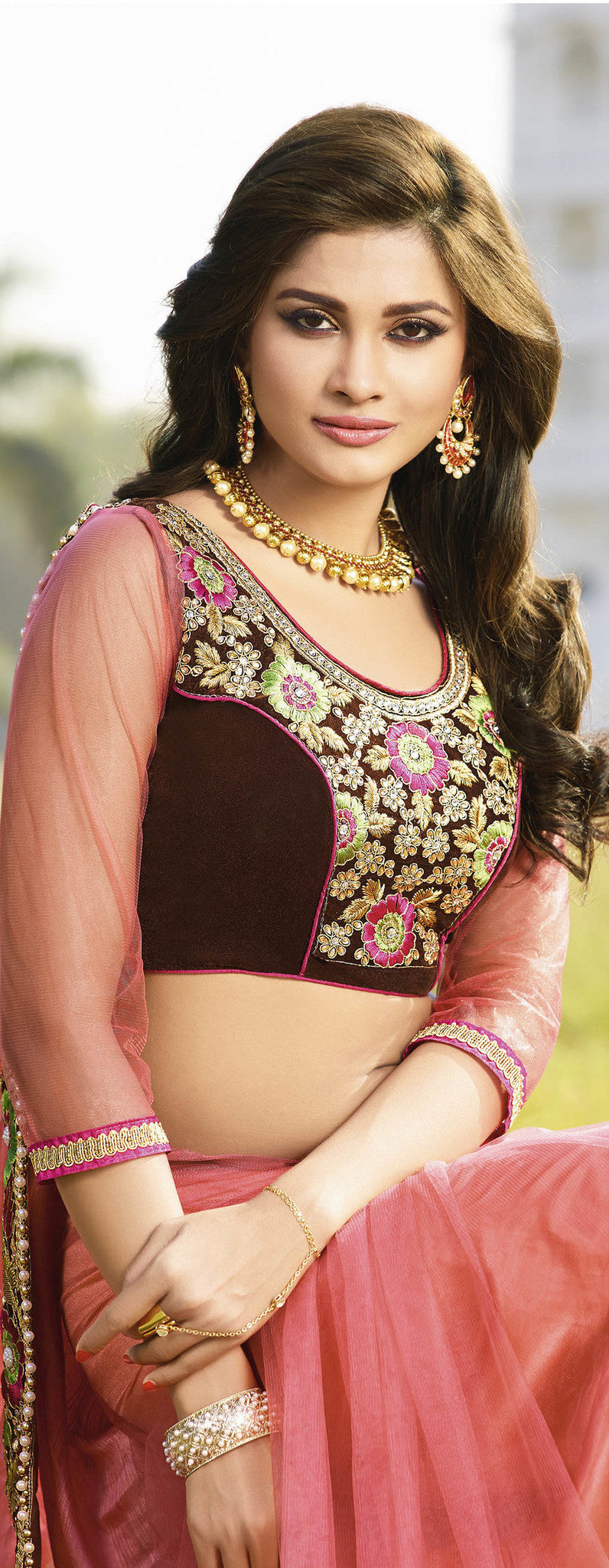 Light Pink Viscose Saree
