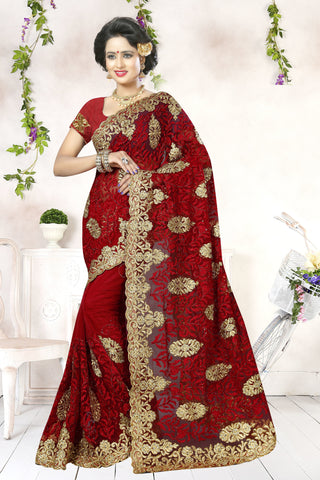 Gorgeous Red Net Saree.