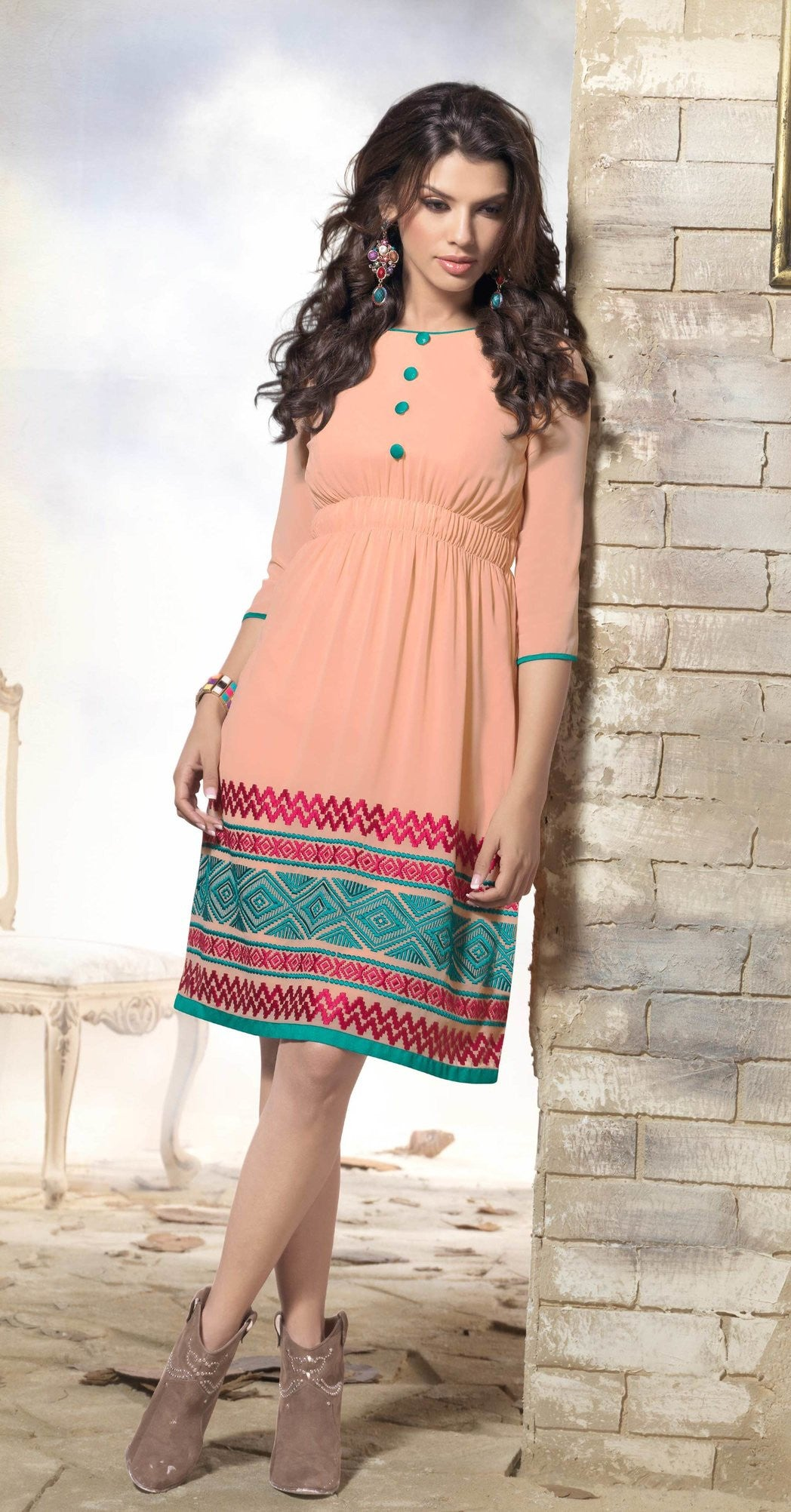 Dusty Peach Georgette Kurti