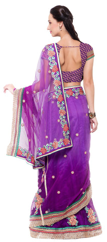 Signature Purple Net Lehenga Saree.