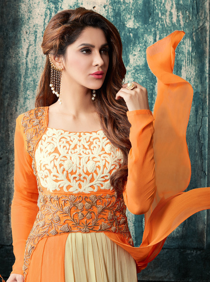 Orange & Beige Faux Georgette Salwar Suit.