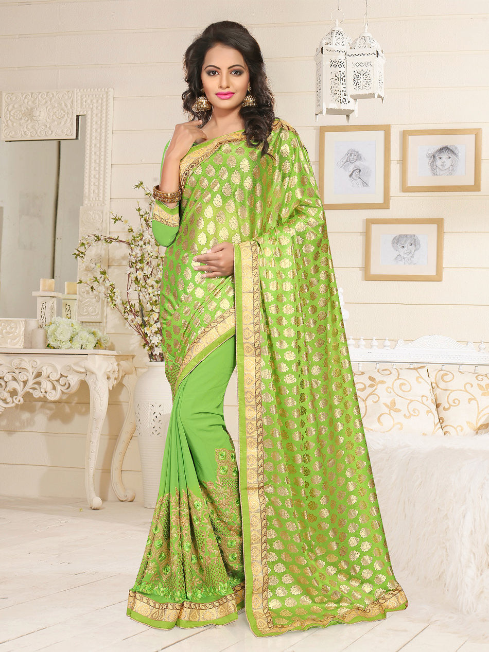 Green Lycra & Georgette Saree