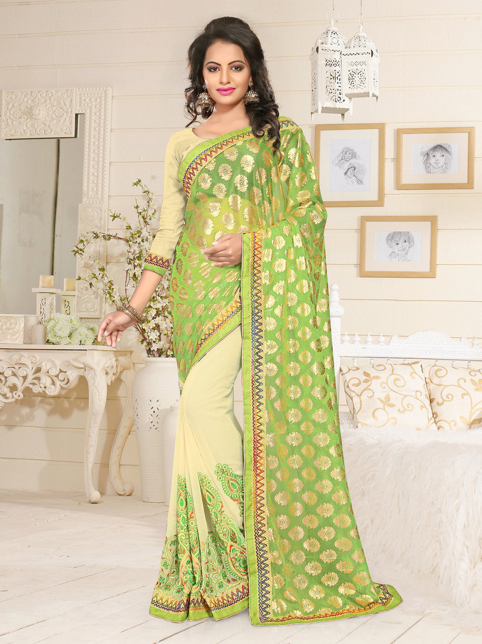 Green and Beige Lycra & Georgette Saree