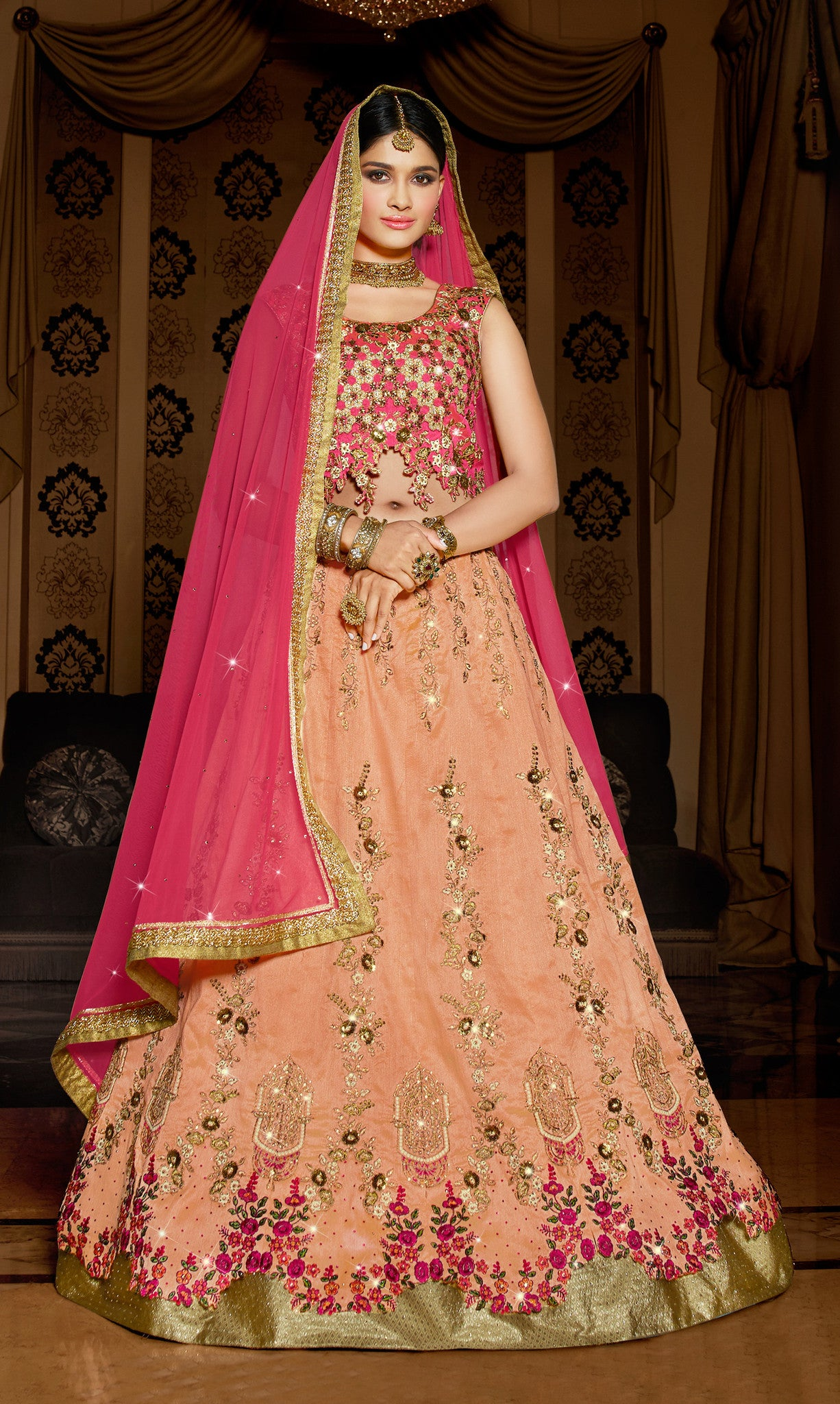 Orange Silk Lehenga.