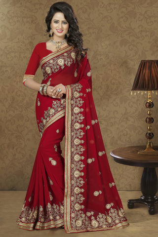 Lovely Red Georgette Saree.