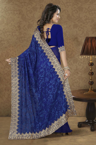 Lovely Blue Georgette Saree.