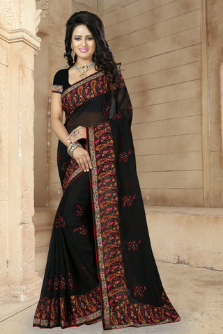 Black Faux Georgette Gown.