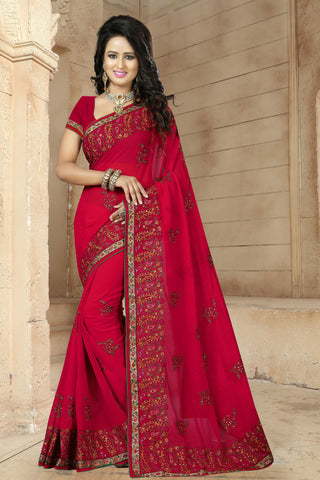 Beautiful Party Wear Georgette Sarees - A