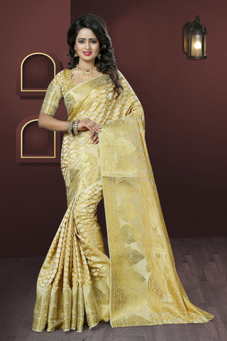 Cream & Peach Georgette & Banglori Silk Salwar Suit.