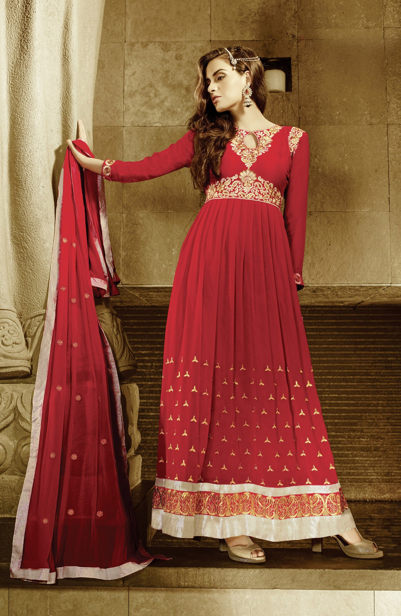 Lovely Red Georgette Suit