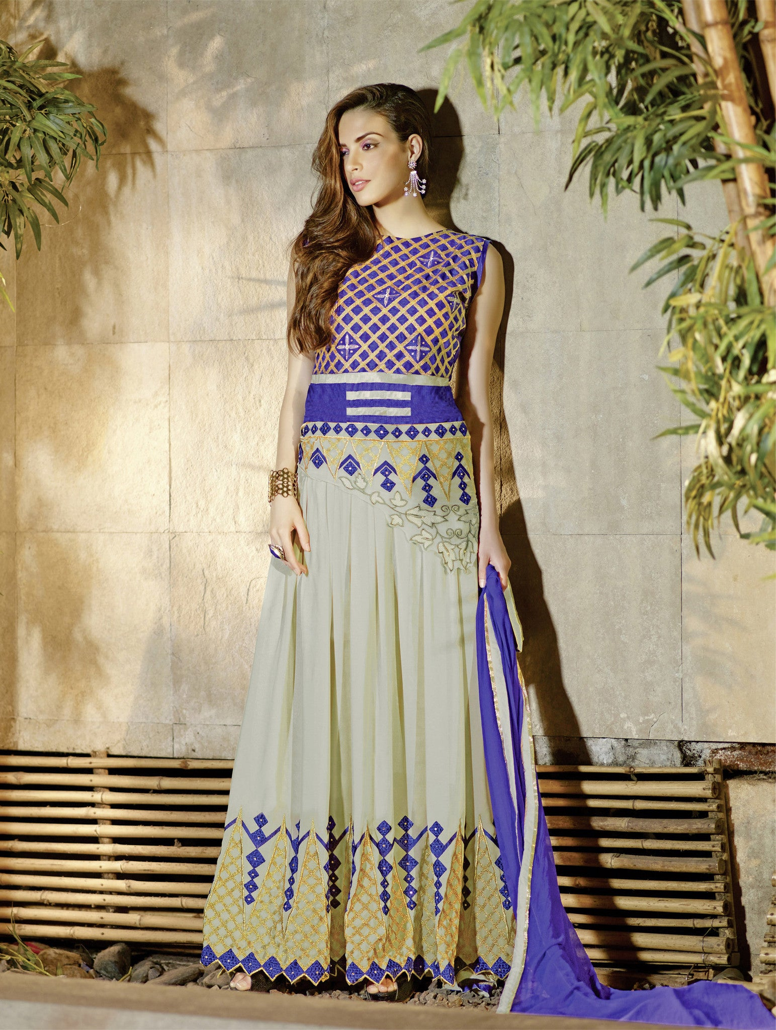 Gray & Blue Georgette Anarkali Salwar Suit