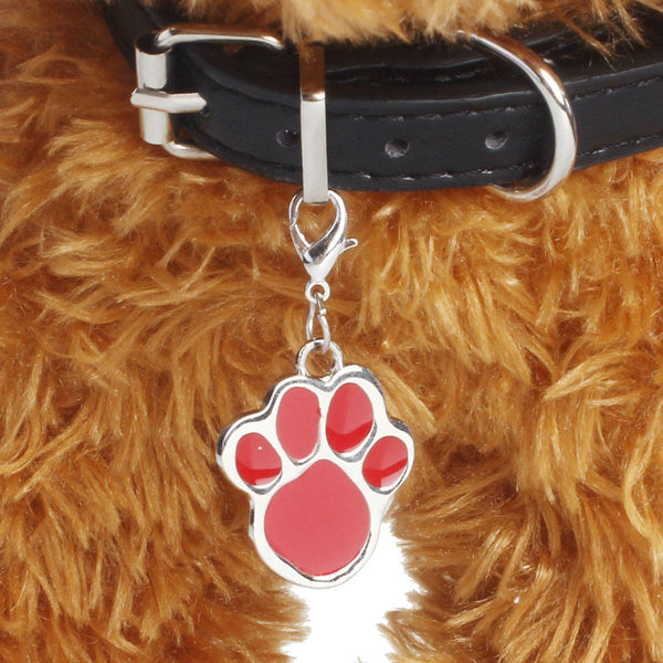 Paw Print Pet Jewelry for Dog Collar or Charm Bracelet