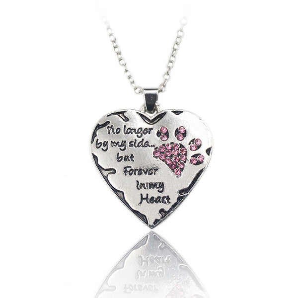 """No longer by my side, but forever in my heart"" Heart Shape Pendant Necklace with Rhinestones"