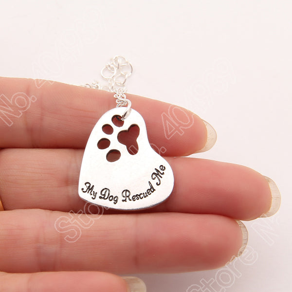 """My Dog Rescued Me"" Dog Lover Beautiful Pendant Necklace"