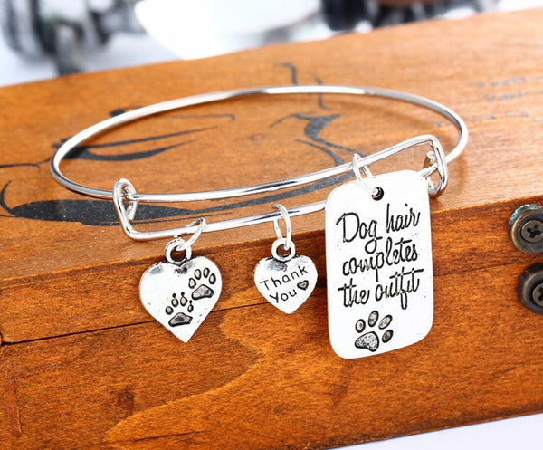 """Dog Hair Completes the Outfit"" Hand Stamped Charm Wire Bracelet"