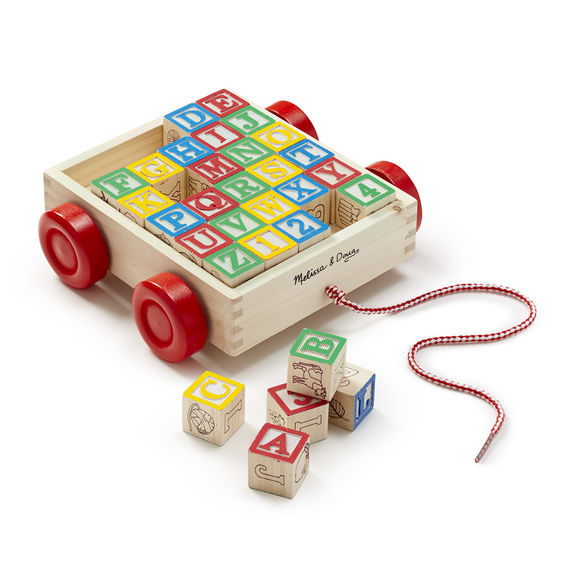 Melissa & Doug Wooden abc/123 Block Cart