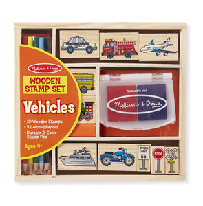 Melissa & Doug Wooden Stamp Set - Vehicles