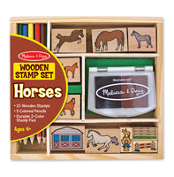 Melissa & Doug Wooden Stamp Set - Horses