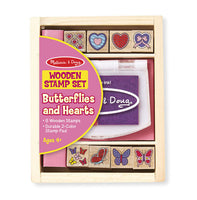 Melissa & Doug Wooden Stamp Set - Butterflies and Hearts