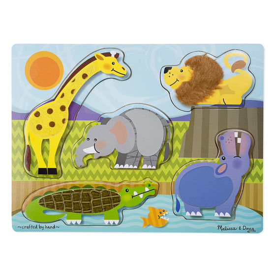 Melissa & Doug Zoo Touch and Feel Puzzle - 5 Pieces
