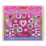 Melissa & Doug Shimmering Hearts Wooden Jewellery Bead Set