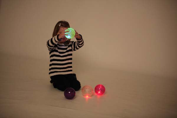 Large Texture Sensory Flashing Ball Set - Pk4