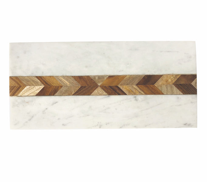 Marble and Acacia Rectangular Board