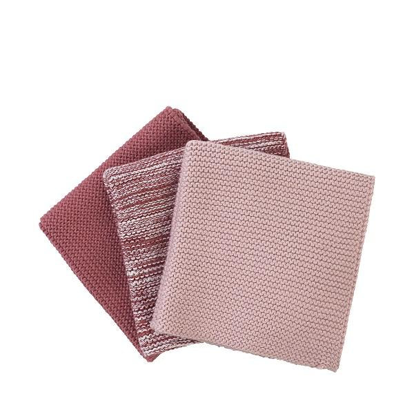 Knitted Dish Cloths 3 Pack Rose
