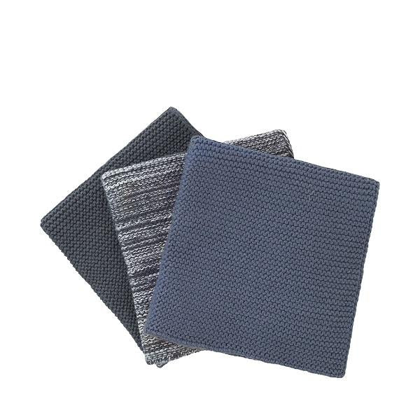 Knitted Dish Cloths 3 Pack Blue-Grey