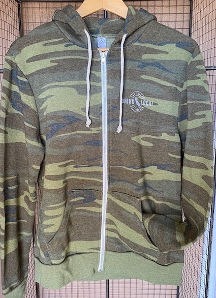 Drink Local Zip Hoodie Camo
