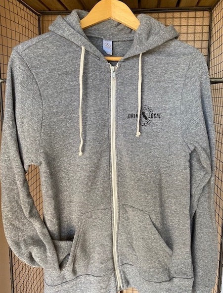 Drink Local Zip Hoodie Grey