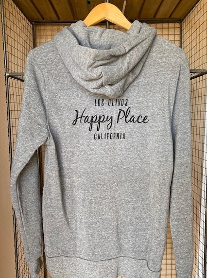 Happy Place Zip Hoodie Grey