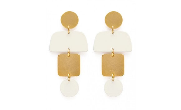 White and Gold Geometry Earrings