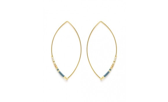 Beaded Long Hoop Earrings Neutral and Blue