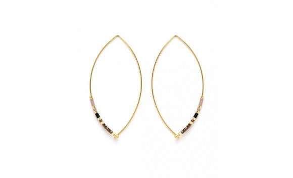 Beaded Long Hoop Earrings Black and Bronze