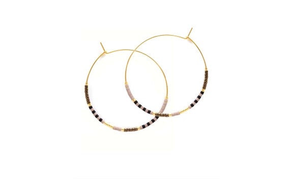Beaded Hoop Earrings Black and Bronze
