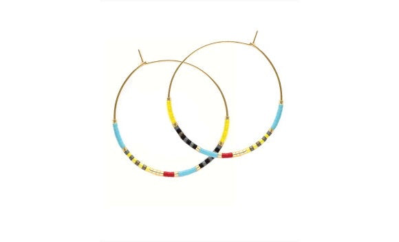 Beaded Hoop Earrings Yellow and Blue